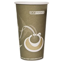 Evolution World 24% PCF Hot Drink Cups 20 oz. Gray Carton of 1000 (ECOEPBRHC20EW)