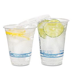 Recycled Content Clear Plastic Cold Drink Cups 12 oz. Clear Carton of 1000 (ECOEPCR12)