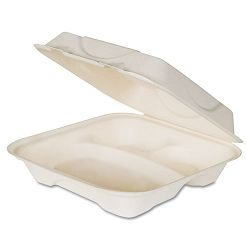 Hot Food Container Sugarcane Hinged 3-Compartment 9 x 9 x 3 White Carton of 200 (ECOEPHC93)