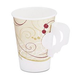 Hot Cups wPaper Handle Symphony Design 8 oz. Beige (SLO378HSMSYM)