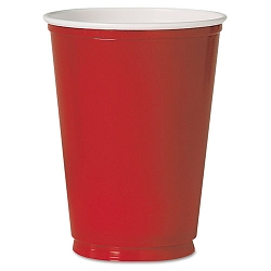 Plastic Party Cold Cups 12 oz. Red Pack of 50 (SLOM22RPK)