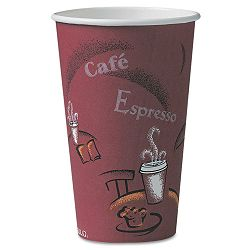Bistro Design Hot Drink Cups Paper 16 oz. Maroon Carton of 300 (SLOOF16BI0041)