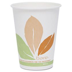 Bare PLA Hot Cups White wLeaf Design 8 oz. Carton of 500 (SLOOF8PLAJ7234)