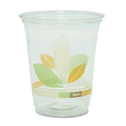 Bare RPET Cold Cups Clear wLeaf Design 12 oz. Carton of 1000 (SLORTP12J9036CT)