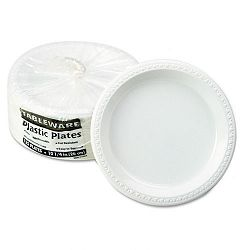 "Plastic Dinnerware Plates 10-14"" Diameter White Pack of 125 (TBLTM10644WH)"
