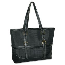 "Peyton Laptop Tote NylonFaux Leather 18"" x 5"" x 13"" Black (BUXOC113T88BK)"
