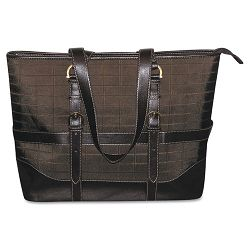"Peyton Laptop Tote NylonFaux Leather 18"" x 5"" x 13"" Brown (BUXOC113T88BR)"