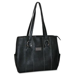 "Kara Laptop Tote Faux Leather 15 34"" x 5"" x 13 12"" Black (BUXOC124T94BK)"