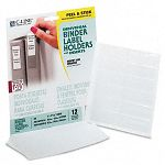 "Self-Adhesive Ring Binder Label Holders Top Load 34"" x 2-12"" Clear Pack of 12 (CLI70013)"