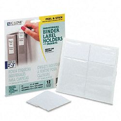 "Self-Adhesive Ring Binder Label Holders Top Load 1-34"" x 3-14"" Clear Pack of 12 (CLI70025)"