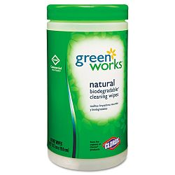 "Green Works Natural Wipes Plant Fiber 7 ""x 7 12"" White Canister of 62 (COX30380)"