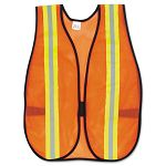 "Orange Safety Vest 2"" Reflective Strips Polyester Side Straps One Size (CRWV201R)"