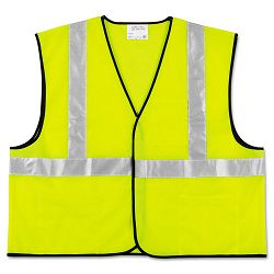 Class 2 Safety Vest Fluorescent Lime with Silver Stripe Polyester Large (CRWVCL2SLL)