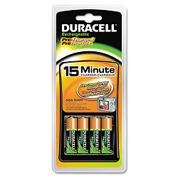 NiMH 15-Minute Battery Charger 4 Pre-Charged Rechargeable AA Batteries (DURCEF15DX4)
