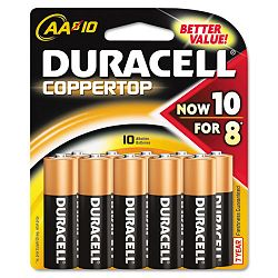 Coppertop Alkaline Batteries AA Pack of 10 (DURMN1500B10Z)