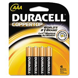 Coppertop Alkaline Batteries AAA Pack of 4 (DURMN2400B4Z)