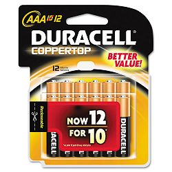 Coppertop Alkaline Batteries AAA Pack of 12 (DURMN24RT12Z)