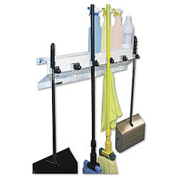 "The Clincher Mop & Broom Holder 34""w x 5.5""d x 7.5""h White Gloss Each (EXC3336WHT2)"