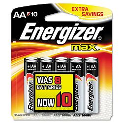 MAX Alkaline Batteries AA 10 BatteriesPack (EVEE91BP8F2)