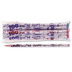 Decorated Woodcase Pencil 100th Day HB #2 Silver Barrel Dozen (MPD7448B)