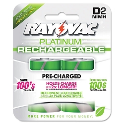 Platinum Rechargeable NiMH Batteries D 2 per Pack (RAYPL7132GEN)