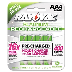 Platinum Rechargeable NiMH Batteries AA 4 per Pack (RAYPL7154)