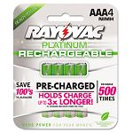 Platinum Rechargeable NiMH Batteries AAA 4 per Pack (RAYPL7244)