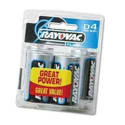 Maximum Plus Alkaline Batteries D Pack of 4 (RAY8134)