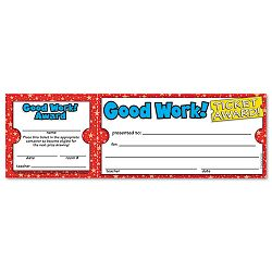 "Good Work Ticket Awards 8 12""w x 2 34""h 100 2-Part TicketsPack (SHS0439652073)"