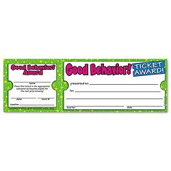 "Good Behavior Ticket Awards 8 12""w x 2 34""h 100 2-Part TicketsPack (SHS043965209X)"