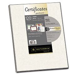 "Parchment Paper Certificates with CD 8-12"" x 11"" Ivory Pack of 120 (SOUCDE984)"