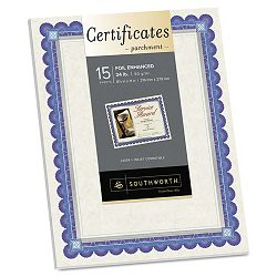 "Foil-Enhanced Certificates 8-12"" x 11"" Silver Border Pack of 15 (SOUCT1R)"