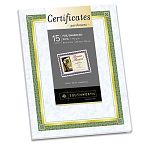 "Foil-Enhanced Certificates 8-12"" x 11"" Green & Gold Border Pack of 15 (SOUCT2R)"