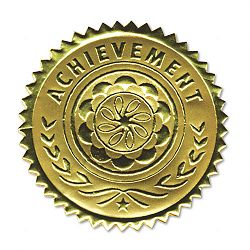 Gold Foil Certificate Seals Achievement Pack of 12 (SOUS2)