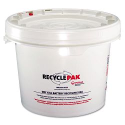 Prepaid Recycling Container Kit for Batteries 3 12 Gallon Round Pail White (SPDSUPPLY041)