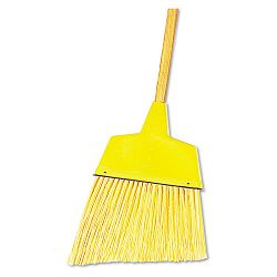 "Angler Broom Plastic Bristles 42"" Wood Handle Yellow (UNS932A)"