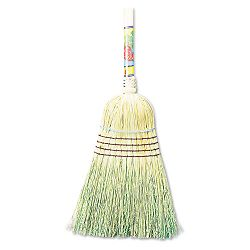 "Warehouse Broom Corn Fiber Bristles 42"" Wood Handle Natural (UNS932C)"