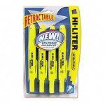 Retractable Highlighter Chisel Tip Fluorescent Yellow Ink Set of 4 (AVE59403)