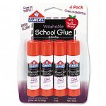 Washable School Glue Sticks Purple .24 oz Repositionable Stick Pack of 4 (EPIE543)
