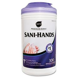 "Sani-Professional Sani-Hands II Sanitizing Wipes 7 12"" x 5 12"" Canister of 300 (NICP92084)"