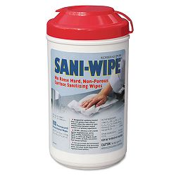 "Sani-Wipe Surface Sanitizing Wipes 7.75"" x 10.5"" White Canister of 100 Carton of 6 (NICQ94384)"
