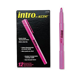 Intro Highlighters Chisel Tip Fluorescent Pink Pack of 12 (PAP22709)