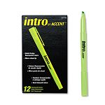 Intro Highlighters Chisel Tip Fluorescent Green Pack of 12 (PAP22726)