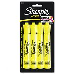 Accent Tank Style Highlighter Chisel Tip Fluorescent Yellow Set of 4 (SAN25164PP)