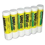 UHU Stic Permanent Clear Application Glue Stick .74 oz Pack of 6 (SAU99830)