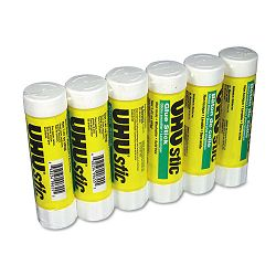UHU Stic Permanent Clear Application Glue Stick 1.41 oz Pack of 6 (SAU99835)