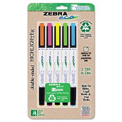 Eco Zebrite Double-Ended Highlighter ChiselFine Point Tip Set of 5 (ZEB75005)