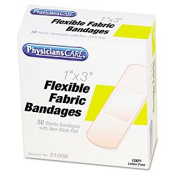 "Fabric Adhesive Bandages 1"" x 3"" Box of 50 (ACM51006)"