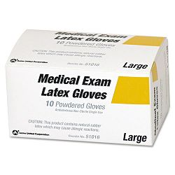 Disposable Latex Glove First Aid Refill Lightly Powdered No Talc Medium Box of 10 (ACM51016)