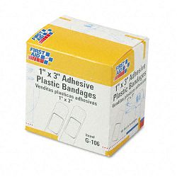 "Plastic Adhesive Bandages 1"" x 3"" Box of 100 (FAOG106)"
